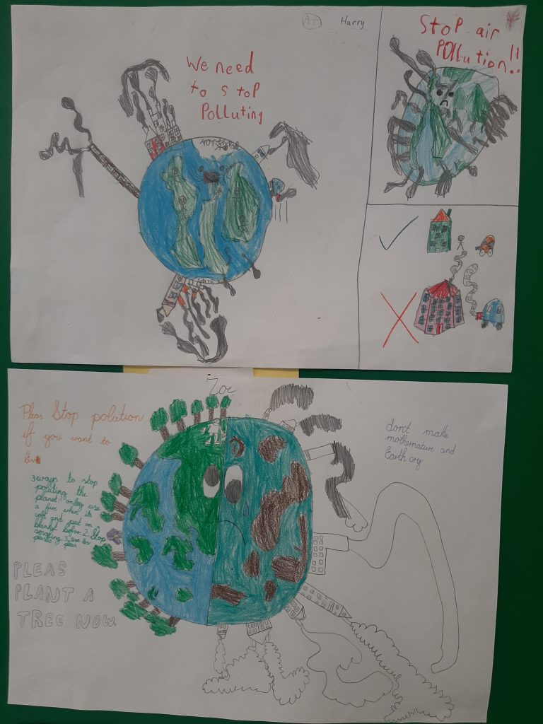 Learning about pollution and what we can do to reduce it in second class