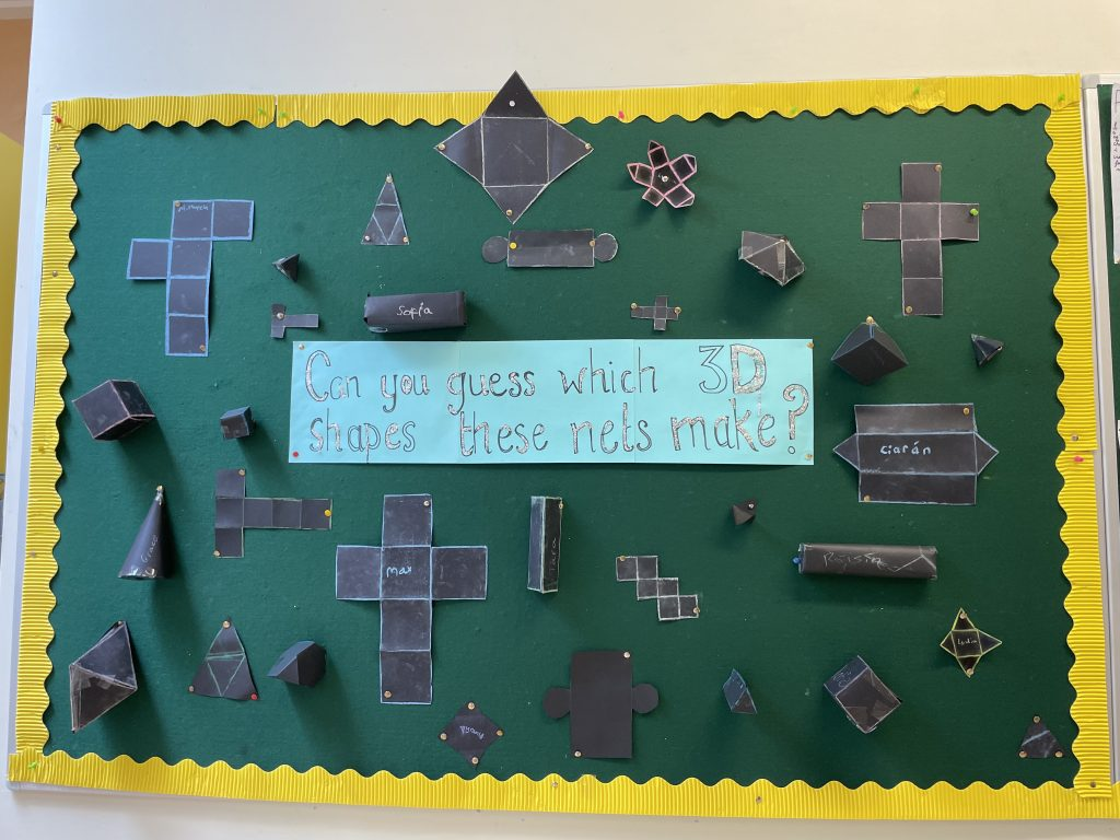 Áine's 6th Class made nets of 3D Shapes - can you guess what objects they make?