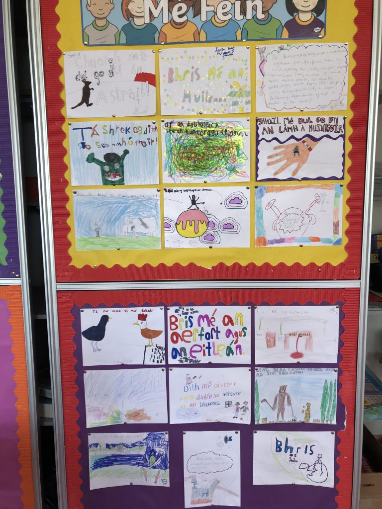 Silly sentences as Gaeilge from Lisa and Aoibhín's 3rd Class
